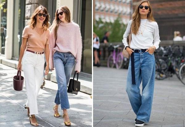 С чем можно сочетать широкие джинсы