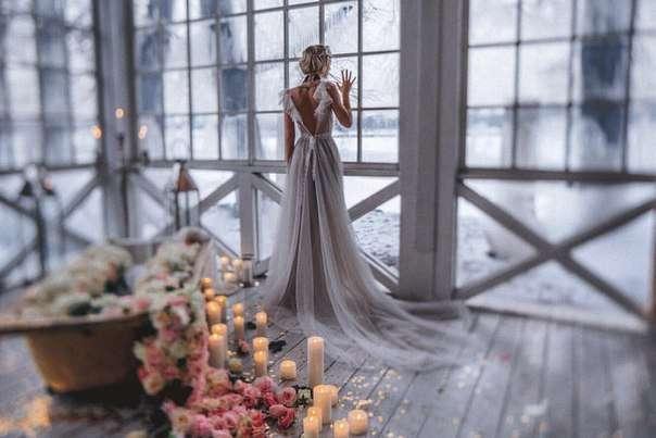 Акварельное свадебное платье Бузовой